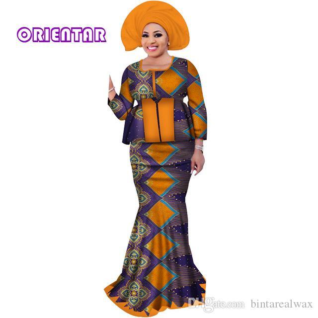 Две Юбки Наборов с Головной Уборкой Африканский Базин Riche Печати Лоскутная Вершина и Русалка Юбки для Женщин Африканская Одежда WY3109