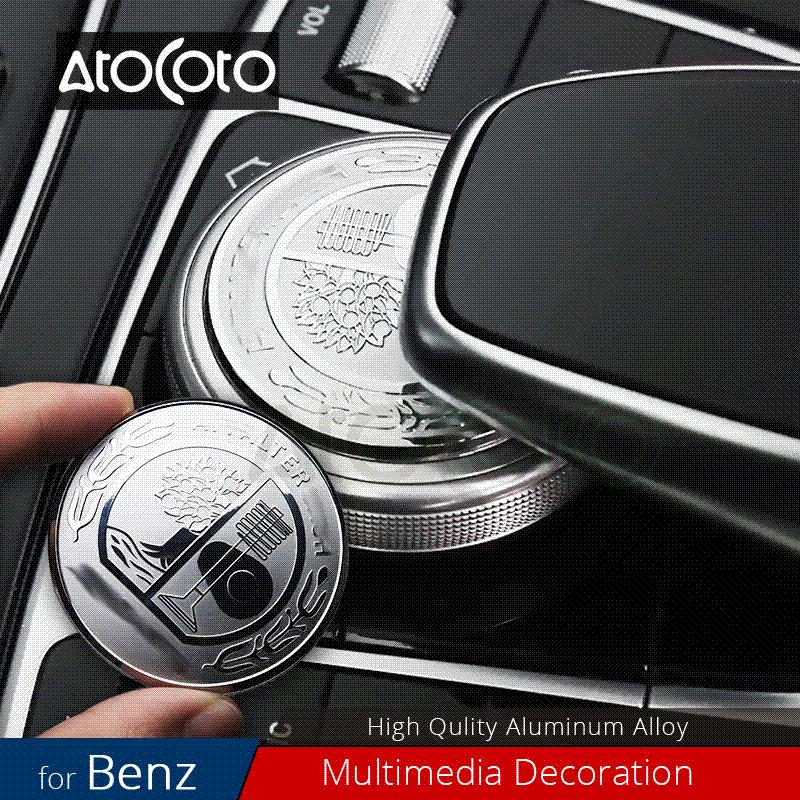 Car Styling Steering Wheel Badge Engine Start Stop Multimedia Mouse Button Cover Emblem Stickers for Mercedes Benz AMG C E Class