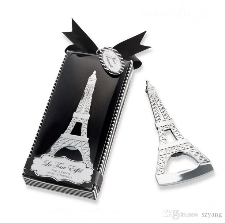 Souvenirs De Mariage Romantique Paris Tour Eiffel Ouvre-Bouteille Nouveauté De Mariage Cadeau Faveur cadeaux avec boîte de vente Au Détail SN3017