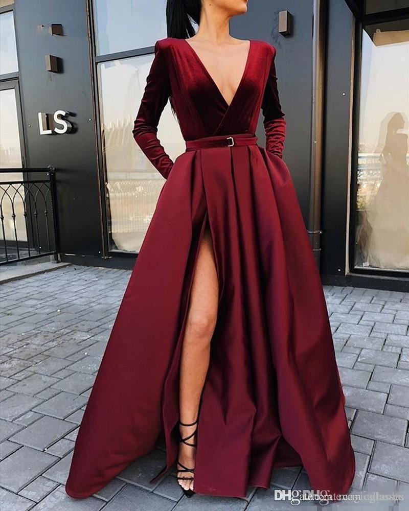 2020 새로운 도착 긴 소매 이브닝 드레스 벨벳 V 넥 겨울 여성 정장 드레스 부르고뉴 새틴 파티 드레스 사이드 슬릿
