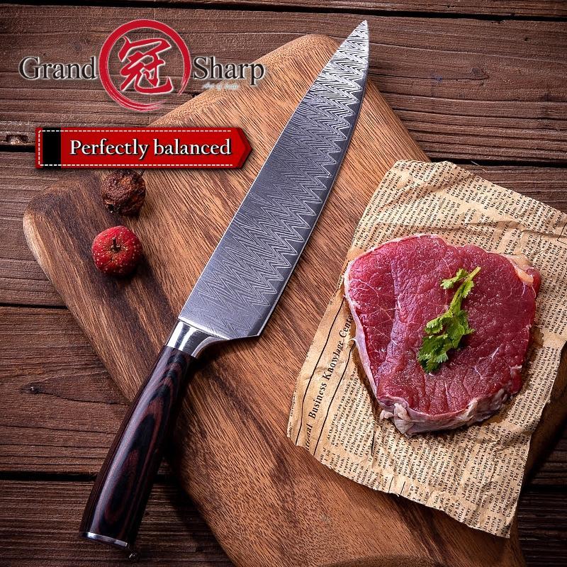 Grandsharp 8-Zoll-Küche Kochmesser Laser Damaskus Muster Edelstahl Fleisch Gemüse Slicing Schnitzen Küchenmesser Neu