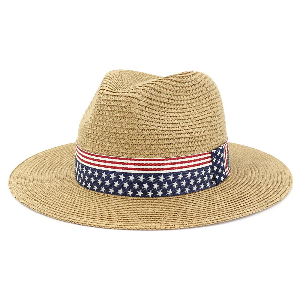 Summer Paper Straw Wide Brim Sun Hats Men Women British Style Jazz Fedora Beach Hat Cowboy Sunhat with US Flag Ribbon