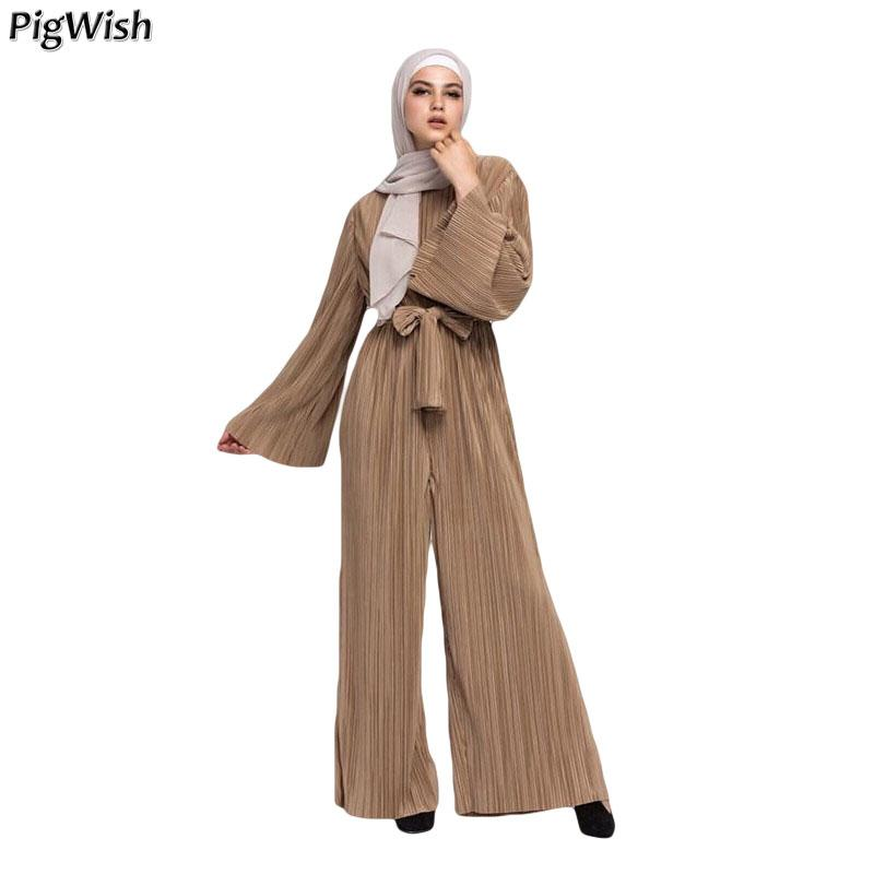 2018 Abaya Dubai Müslüman Pileli Tulum Kadınlar tulum Geniş Bacak Pantolon İslami Türk Giyim Arapça Eid Mubarak Fas