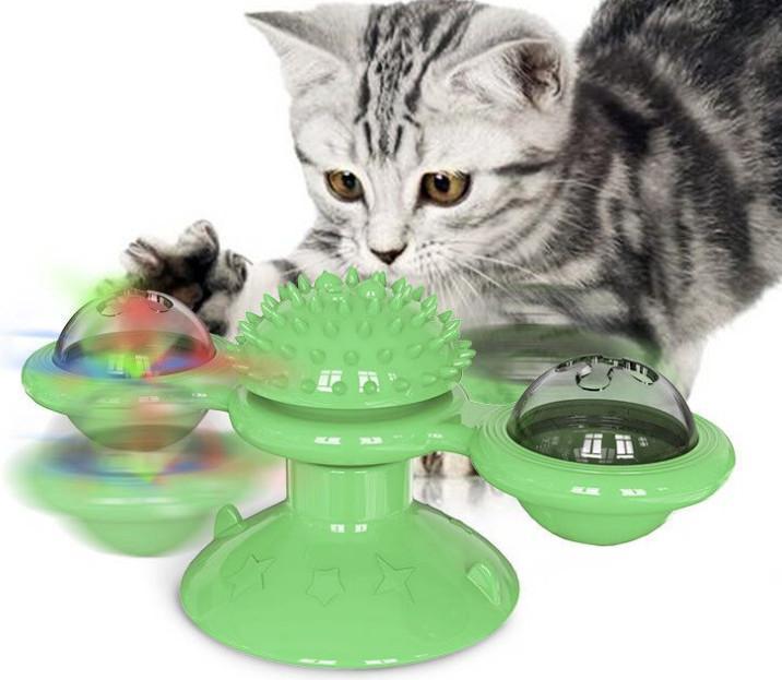 أحدث الإمدادات الحيوانات الأليفة بدوره حول طاحونة القط لعبة الدوار ندف القط لعب خدش حكة القط فرشاة، شحن مجاني
