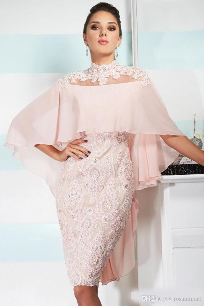 Сексуальная мать от невесты Платья высокая шея розовый шифон кружева аппликация бисером с накидкой пользовательские Sheer назад свадьба плюс размер матери платье