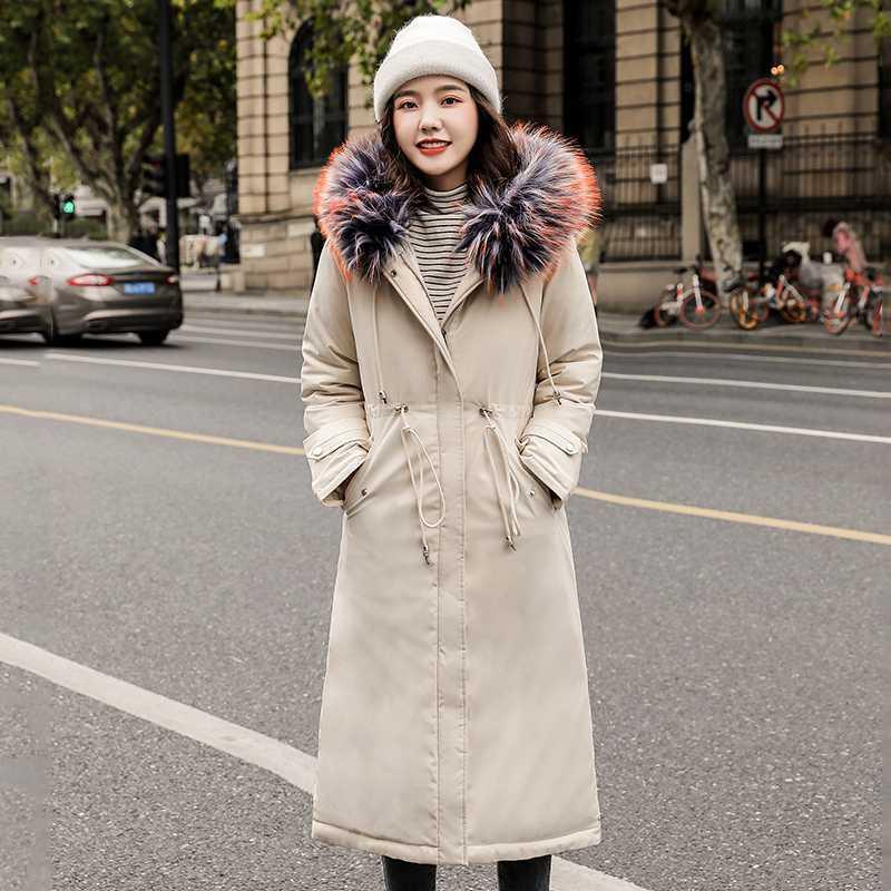 Tamaño más larga chaqueta para las mujeres 2020 Winter Collar Parka con capucha Mujer Con La Piel de Corea del estilo delgado caliente de la capa Femme Mujer Chaqueta