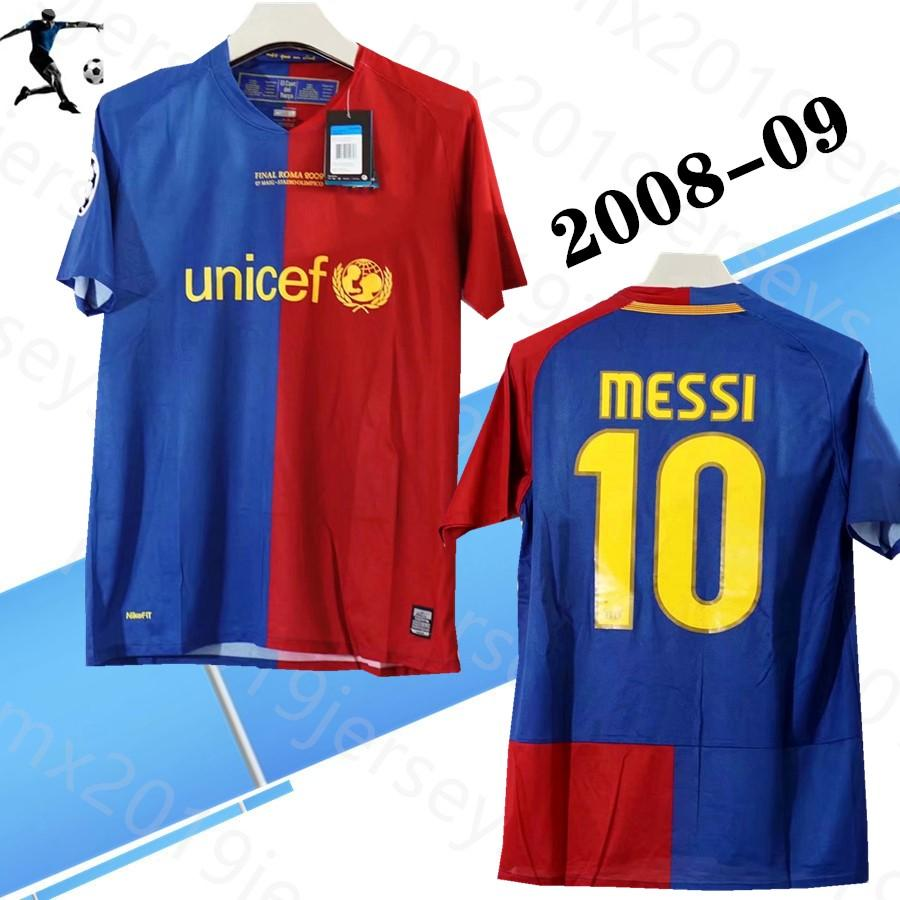 Player version 2008-09 home Retro soccer jerseys messi xavi henry puyol david villa match deatils 08 09 classic Retro football shirts