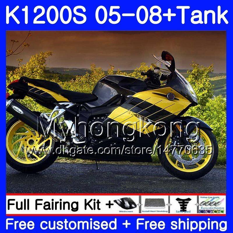 Corpo + Tanque Para BMW amarelo preto novo K1200 S K 1200 S K1200S 05 06 07 08 09 10 311HM.18 K-1200S K 1200S 2005 2006 2007 2008 2009 2010 Carenagens