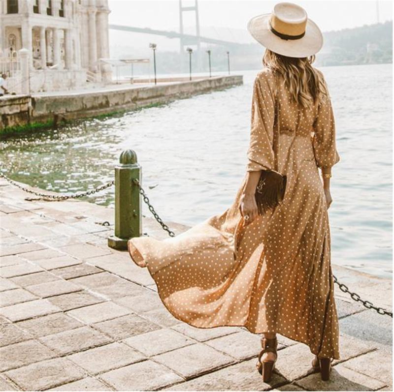 Bölünmüş Maxi Elbiseler Polka Dot Uzun Kollu Yaz Elbiseler Kadın Giyim Kadın V Boyun yazdır