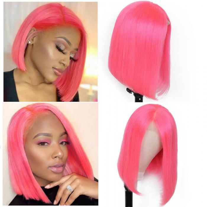 hair series colored bob 8 14 inch pink lace front short straight bob cheap free shipping