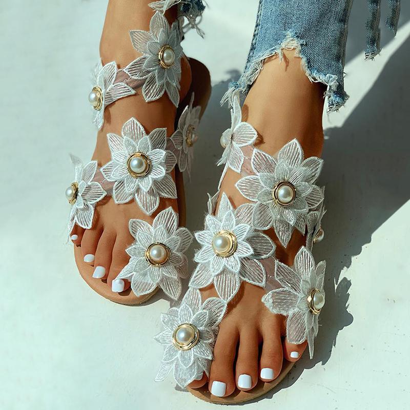 Bohemian Sandalen Frauen Sommer Schuhe beiläufige Art und Weise Blumenperlen Flache Sandalen Zehenring-Strand-Schuhe Sandale Schuhe De Mujer CX200613