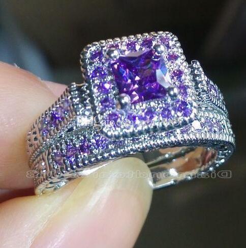 غرامة مجوهرات س الكلاسيكية الأميرة 18k الذهب الأبيض ملأت Amythyst الأحجار الكريمة الزفاف الكلاسيكية خاتم الخطوبة مع مربع.