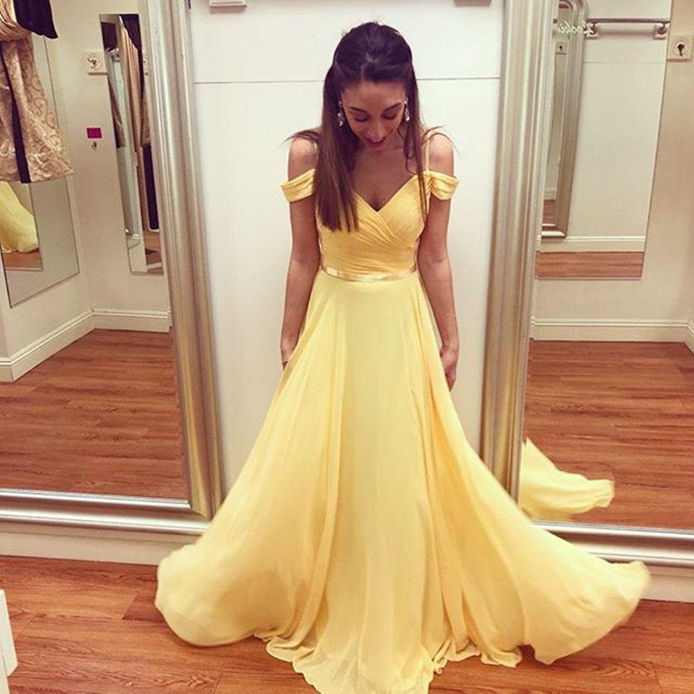Mousseline de soie jaune Robes de bal 2019 Simple d'été Off épaule formelle Robes De Festa Une Partie ligne robe de soirée longue