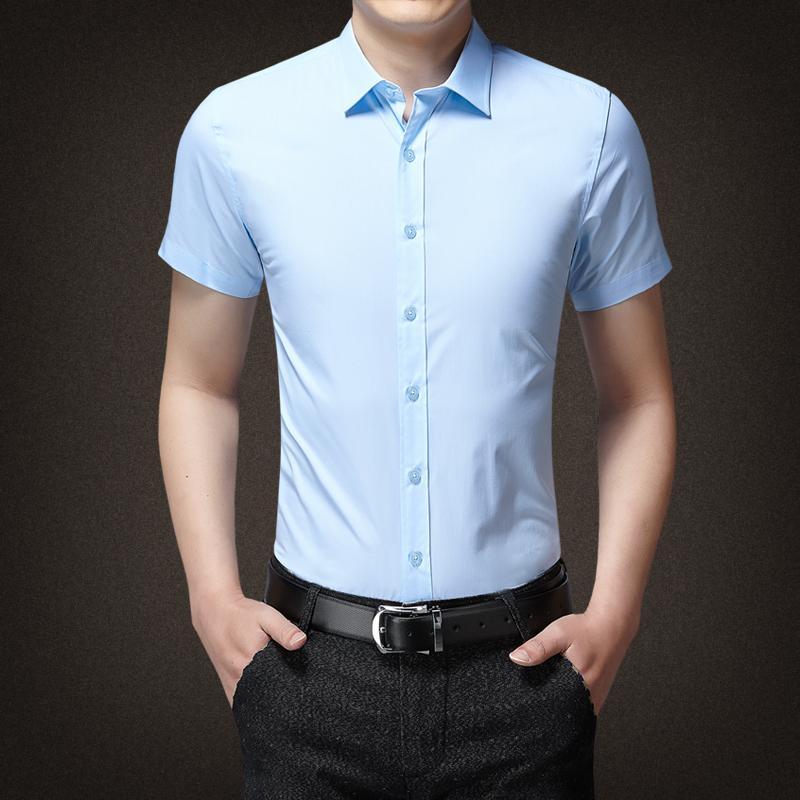 2020 manga curta Slim Fit de Nova Men camisa da cor Pure Casual camisa 15 cor tamanho Masculino Social Asiático M-5XL