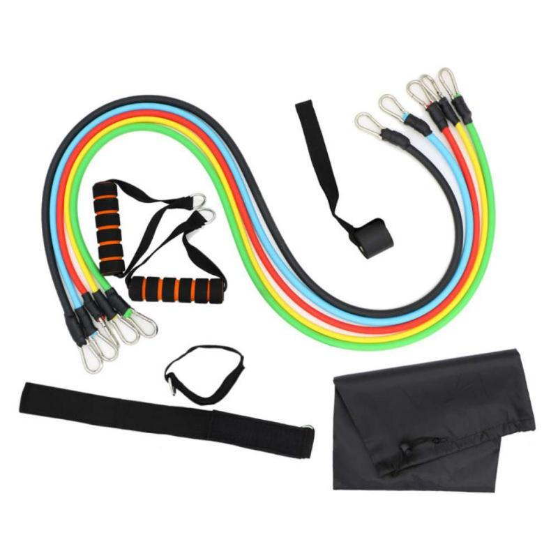 11pcs/set Yoga Fitness Pull Rope Pull Rope Fitness Exercises Resistance Bands Latex Tubes Pedal Exerciser