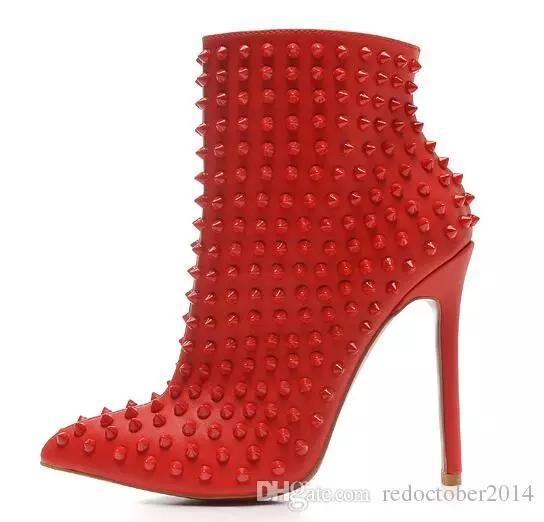 2018 Couro vermelho Preto com Spikes Dedos Apontados Ankle Boots Das Mulheres Designer de Moda Senhoras Sexy Red Bottom High Heels Sapatos de Bombas