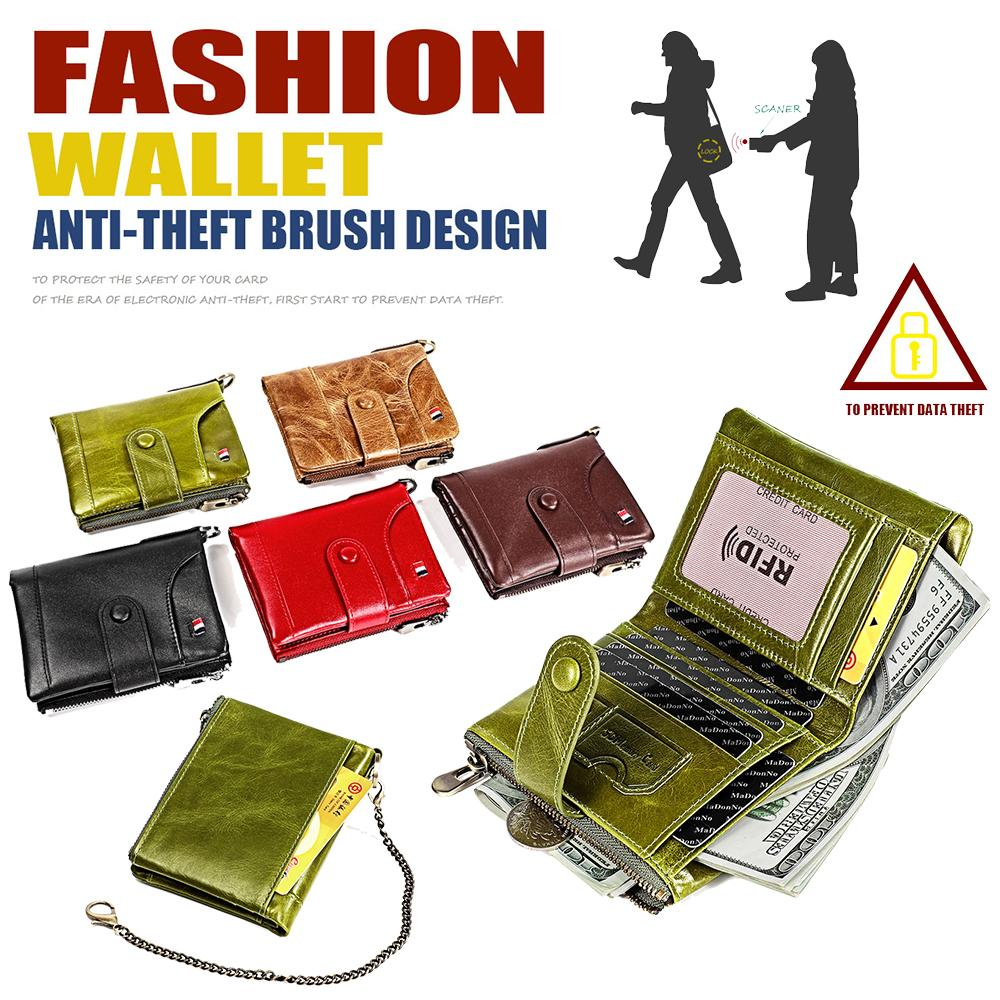 Genuine Cow Leather Bifold Short Wallet Coins Purse Multi Card Holders Women Men Cowhide Zipper Banknote Pouches Bank Card Pocket Gift