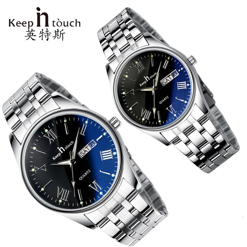 Bleiben Sie in Kontakt Paare Uhr für Liebhaber Geschäfts Luxuxmann und Frauen-Armbanduhr-Quarz-Waterpoof Calerdar Hochzeit Geschenke CJ191116
