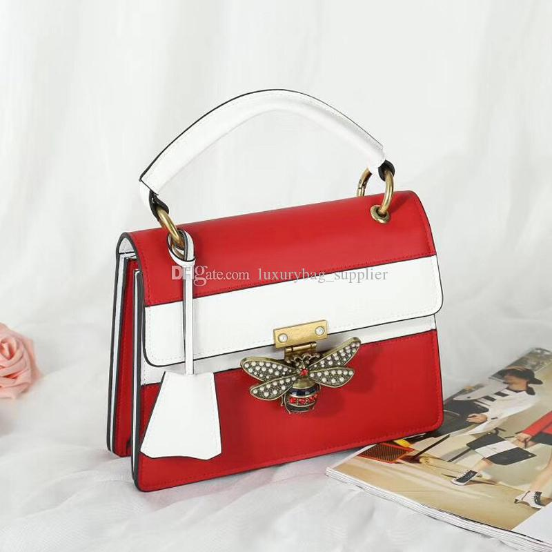 Lady Bags Handbags Purses Fashion High Quality Glass Beads Colored Crystal Bee Decoration Removable Ribbon Lady Flap Bag Free Shipping