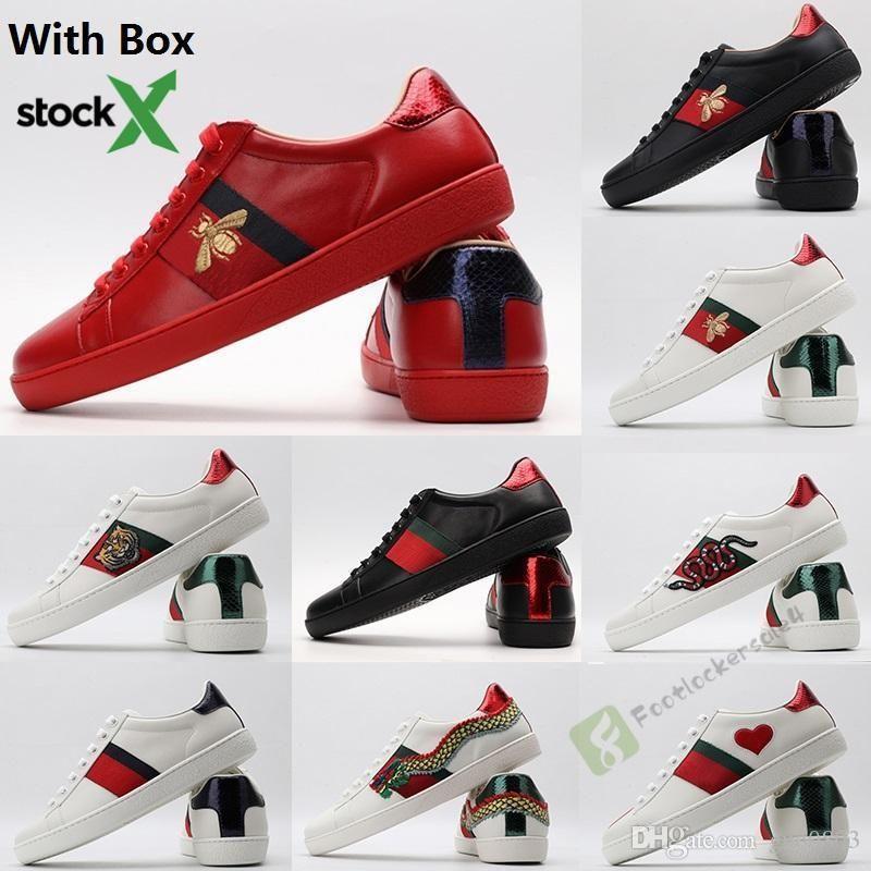 2020 Kutu Stok X Lüks ACE Günlük Ayakkabılar İtalya Marka Moda Arı Yıldız Stripes Kırmızı Siyah Beyaz Hakiki Deri Platformu Tasarımcı Sneaker ile