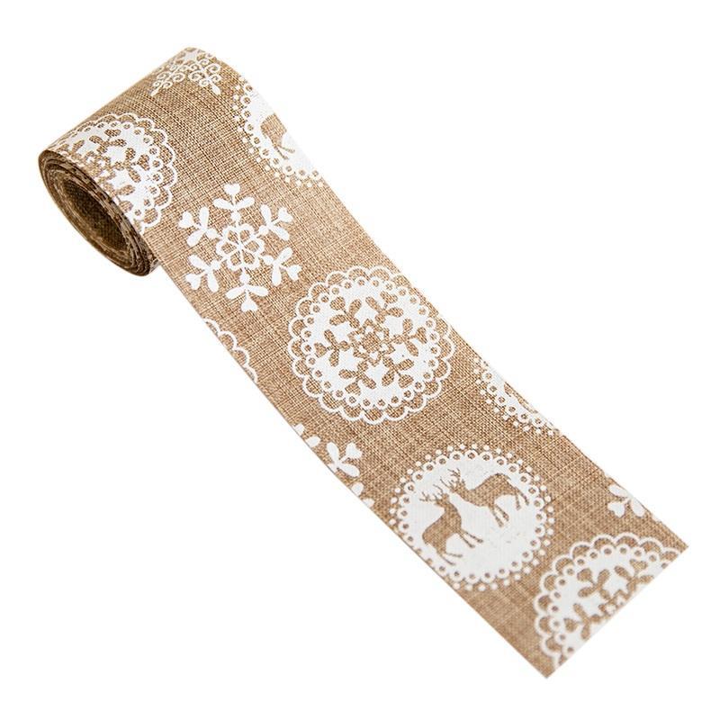 NewHoliday Рождество шаблон Printed Рождество Burlap ленты Рождество Burlap ленты поделочные DIY украшения Подарочная упаковка