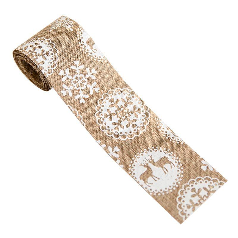 NewHoliday 크리스마스 패턴 인쇄 크리스마스 삼베 리본 크리스마스 삼베 리본 공예 프로젝트 DIY 장식 선물 포장