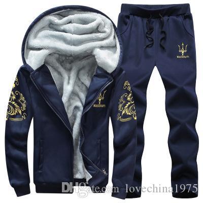 Plus velours chaud Hommes Loisirs Sport Costume De Luxe Hommes Sportswear Marque Hoodies Hip Hop Jogger Ensemble Cool Sweat Sudaderas Hombre TAILLE M-8XL