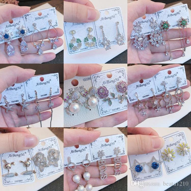 Püskül Küpe ile Kadınlar için Taşlar Kız Yeni Varış Uzun Bırak Dangle Küpe Kore Rhinestone Moda Takı Mağazaları 10 pairs Küpe
