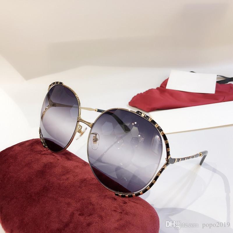 مصمم أزياء جديد نساء نظارات شمسية 0595 إطار كبير حول إطار مجوف نظارات شعبية بسيطة أعلى جودة العدسة uv400 النظارات الخارجية