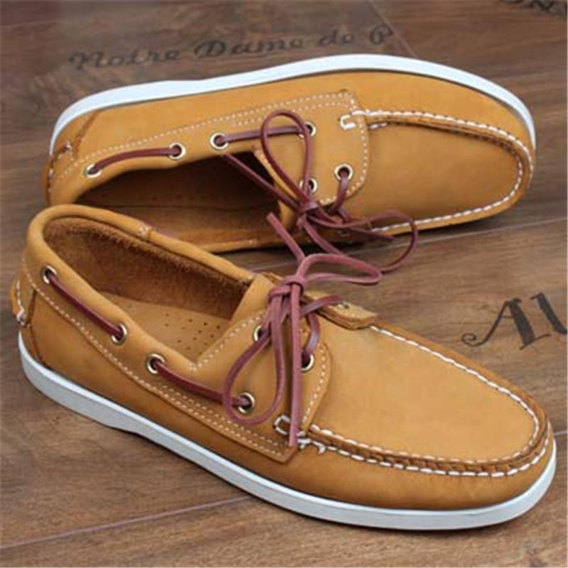 Der zufälligen Männer echtes Leder Docksides Deck Moccain Boot Loafers Schuhe Driving Mode Big Size handgemachte Schuhe 6 # 21 / 20D50
