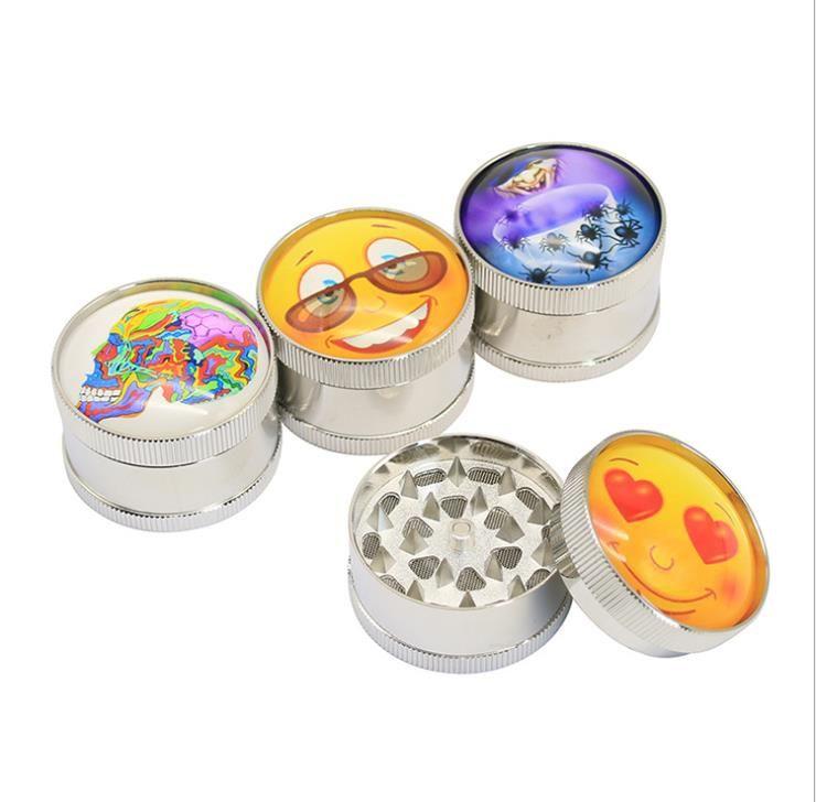 Personal color printing three-layer metal smoke grinder custom-made pattern portable aluminium alloy smoke crusher