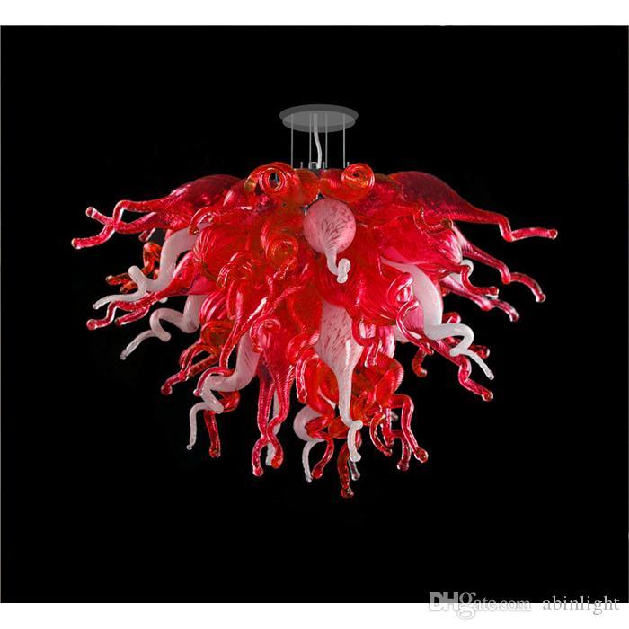 Modern Red LED Ceiling Light Crystal Chandelier Lighting Murnao Glass Pendant Lamp for Dining Room Bedroom Living Room Lighting Fixture