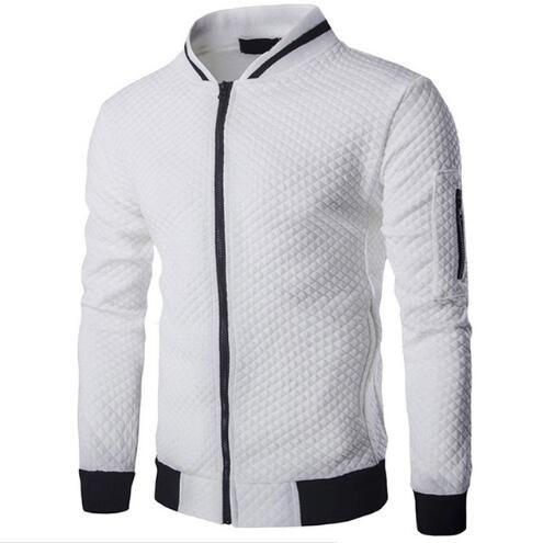 Mens Veste Homme Bomber Fit 아가일 지퍼 자켓 캐주얼 자켓 2019 Autumn New Trend 화이트 패션 남성 자켓 의류