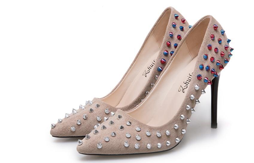 2019 Женская обувь весной и осенью с новым типом Высокий каблук штраф пятки заостренный конец замша @ 2122