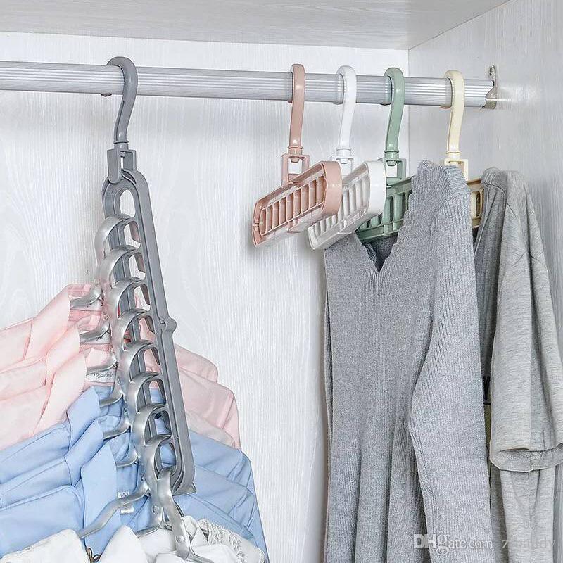 8 x Magic Clothes Tie Closet Hangers Clothing Space Saver Organizer Set White 5H