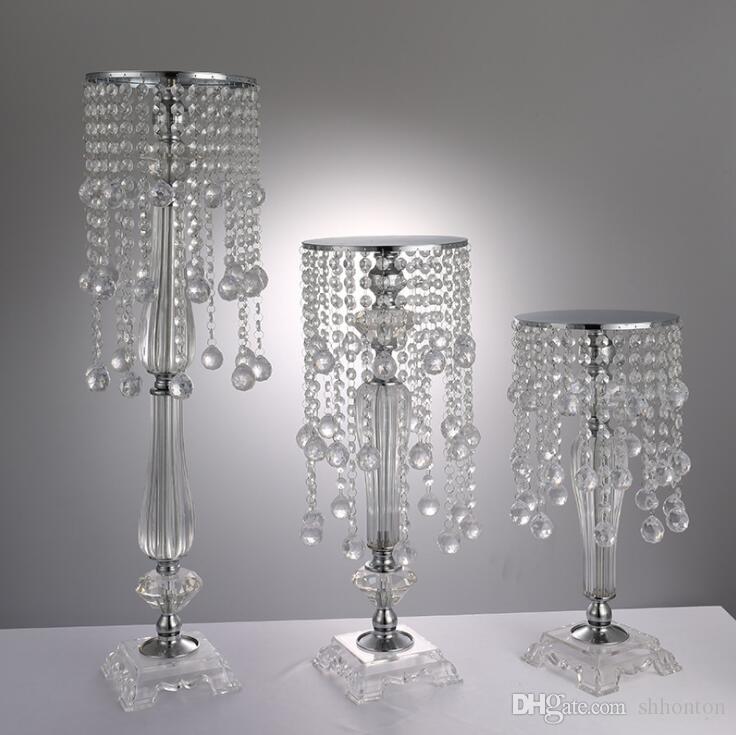 S Größe Acrylkristall Hochzeit Blumenhalter Kristallblume ware Tabelle Herzstück Vase hoch Hochzeit Stand Dekoration 43cm