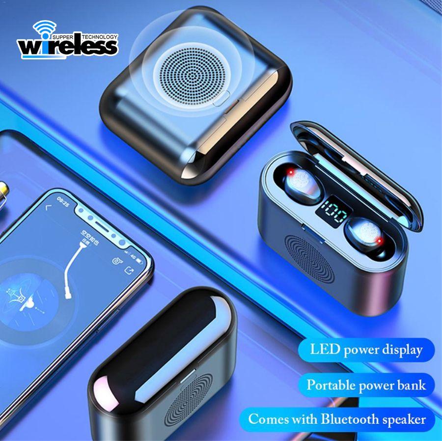 F9 2 em 1 tws Mini 5.0 de alto-falante fone de ouvido sem fio inteligentes Display LED Sports Stereo Headset sem fio com Surround Sound Speaker
