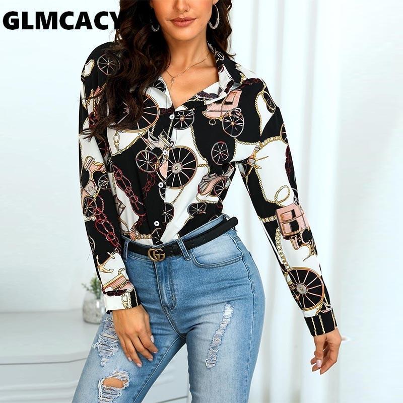 Женщины с длинным рукавом шарф принт повседневная рубашка офис леди уличная одежда весна осень с длинным рукавом пуловер Slim Fit модные рубашки SH190824