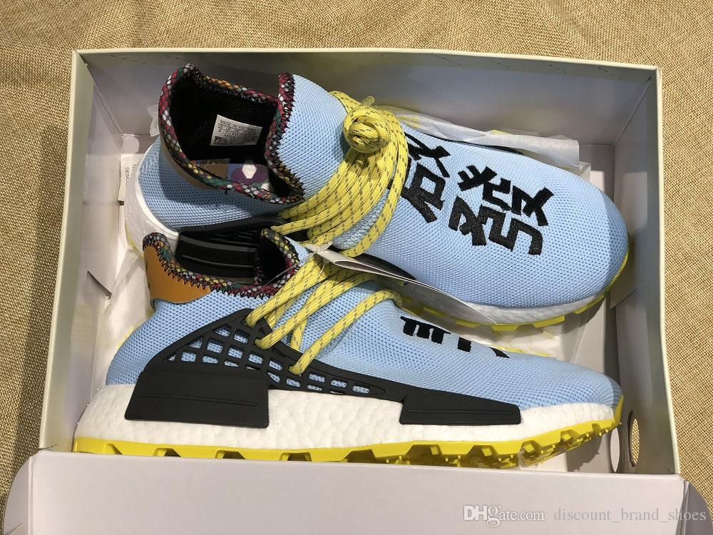 info for 1ade0 f2d9c With Box HU Inspiration TR Human Race Running Shoes Pharrell Williams Clear  Sky Powder Blue White Bold Core Black Sports Sneakers Shoe Shop Mens Sale  ...