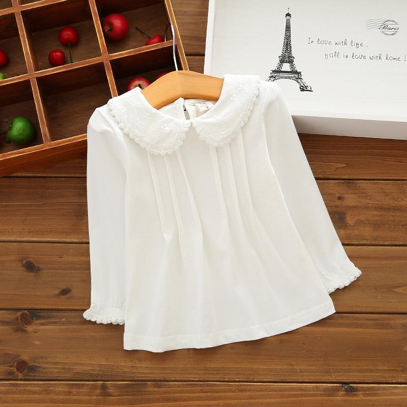 Baby Girls White Blouses Cotton Lace Shirt Autumn Winter Fashion Long Sleeve Turn-down Collar Toddler Tops Kids Clothes