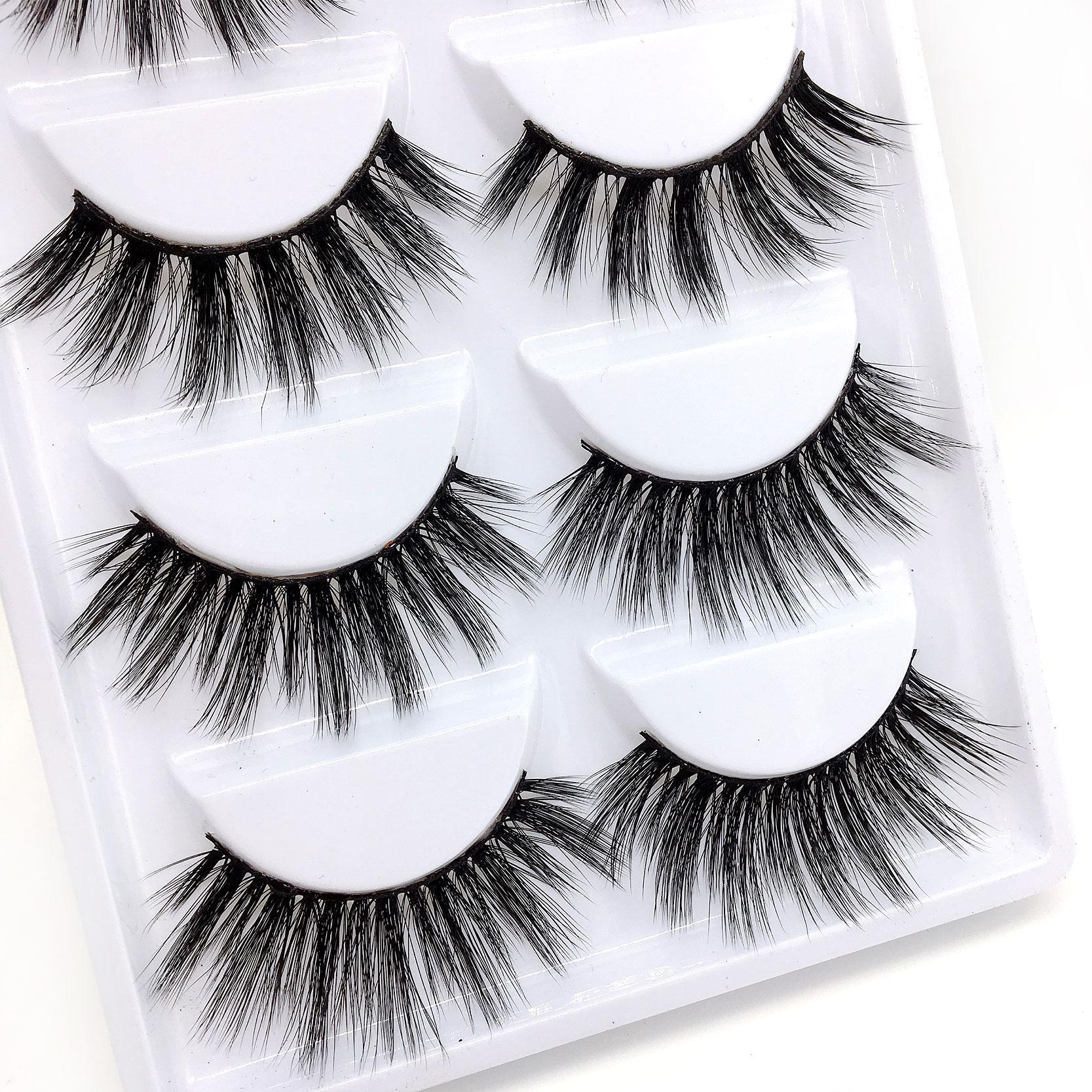 Hot New mix 6 Style Multipack Faux cils 3D Cils de vison doux Wispy Longs Faux Cils Maquillage des yeux naturel Faux Cils Mix E