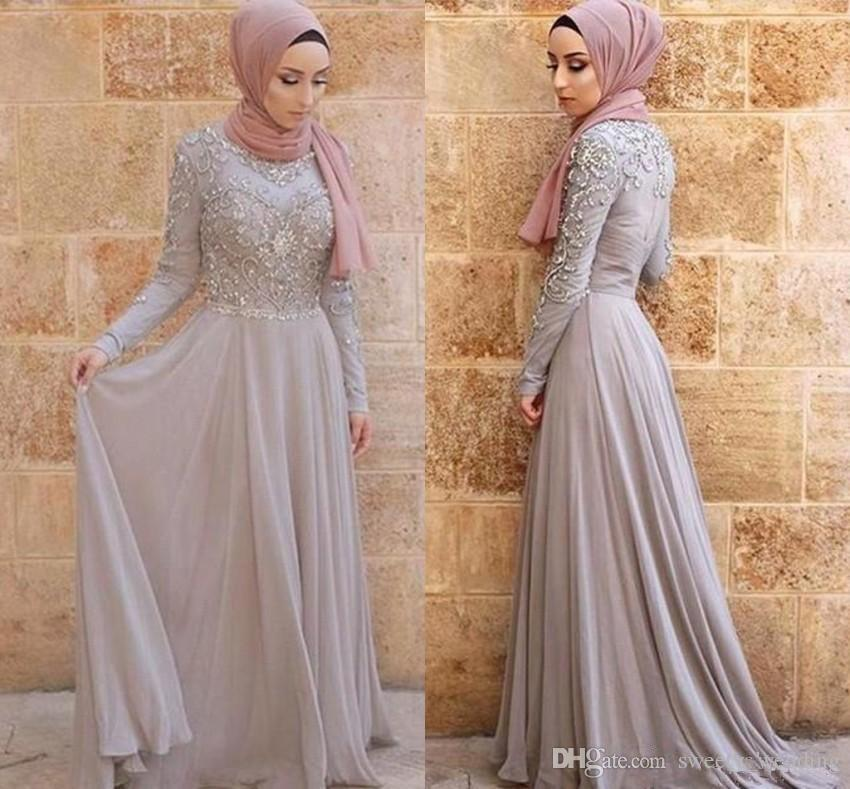 2019 Silver Gray Evening Dresses Hijab Arabic Dubai Vintage Long Sleeve High Neck Formal Occasion Party Gowns Prom Dress Appliqued BC1714