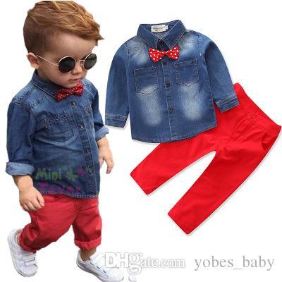 Autumn new boy gentleman suit fashion kids wear trend bow tie long sleeve denim three-piece suit Korean Cotton Set
