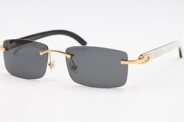 Listras estilo sem aro 8200757 genuíno e natural novo búfalo branco vertical óculos de sol óculos chifre preto 2020 atacado unisex glasse dxxw