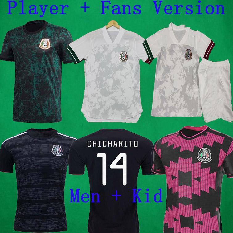 2020 Spielerversion Trikots 20 21 Mexiko Fußball Jersey Chicharito Lozano Layun Football Hemden Herren Fans Version Soccer Uniformen Kids Kit