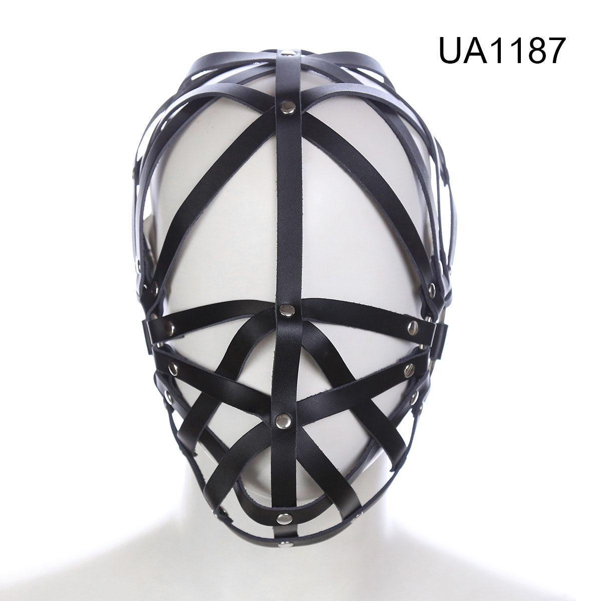 Sexuelstoys Soft Hood Mask Leather Xeglm Fetish Cage # R52Jouts Blindfold Harness Faux Strappy Irbrw