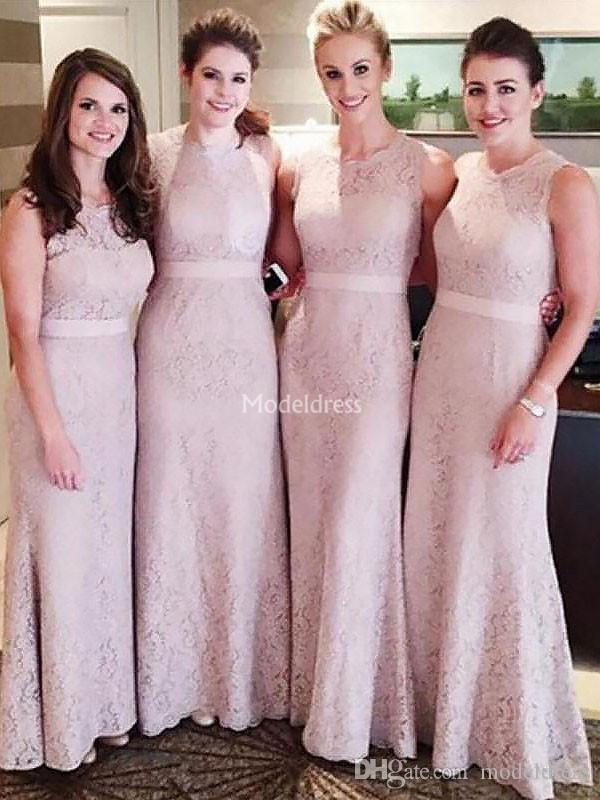 Gorgeous Lace Mermaid Long Bridesmaid Dresses Jewel Neck Elegant Wedding Guest Gowns Charming Cheap Country Style Maid Of Honor Dress Custom