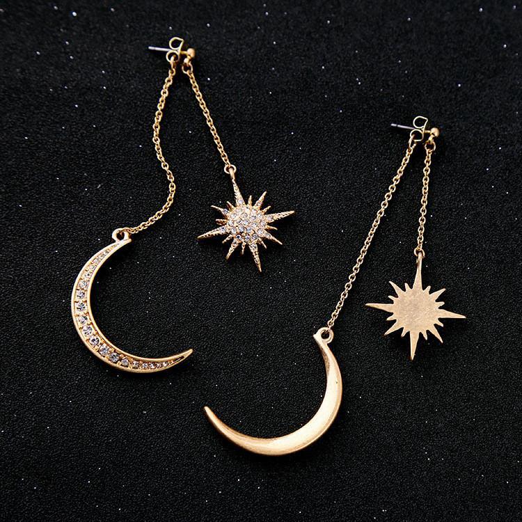 Pendientes con Encanto Pendientes cristal brillante de la estrella de la luna del color oro de la Media Luna Estrella de la mujer por un diamante de las mujeres earringsT2C5135