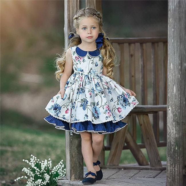Pretty Kids Baby Girls clothes round neck Flower print Button Princess Casual Sleeveless cotton Party Mini Dresses one pieces