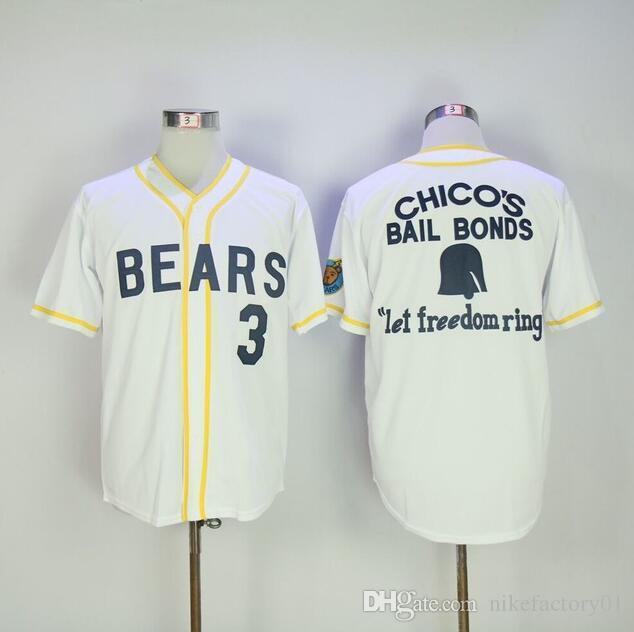 Top Quality rua hip-hop dos homens Bad News Ursos # 12 Tanner Boyle # 3 Kelly Leak Camisola De Beisebol Números Bordados bordados Transporte da gota